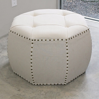 Bungalow Rose Fateh Octagonal Button Tufted Ottoman; Natural
