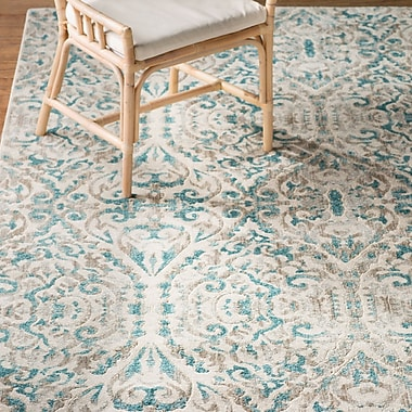 Bungalow Rose Saleya Turquoise Area Rug; Round 8'9''