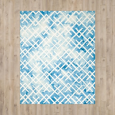 Bungalow Rose Castries Hand-Tufted Blue/Ivory Area Rug; 9' x 12'