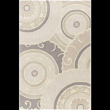 Bungalow Rose Tripolia Hand-Tufted Ivory/Gray Area Rug; 3'6'' x 5'6''