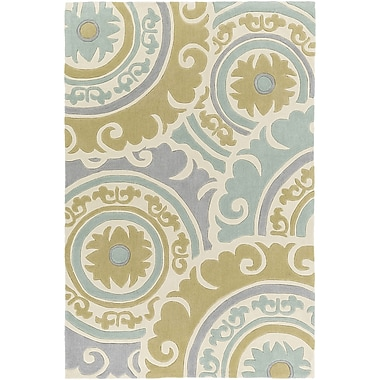 Bungalow Rose Tripolia Hand-Tufted Moss/Gray Area Rug; 2' x 3'