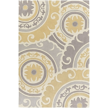 Bungalow Rose Tripolia Hand-Tufted Gold/Ivory Area Rug; 2' x 3'