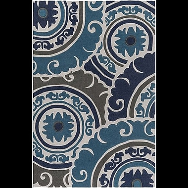 Bungalow Rose Tripolia Hand-Tufted Blue Area Rug; 2' x 3'