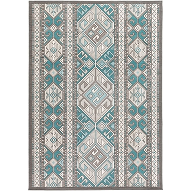 Bungalow Rose Septfontaines Teal/Beige Area Rug; 5'4'' x 7'8''