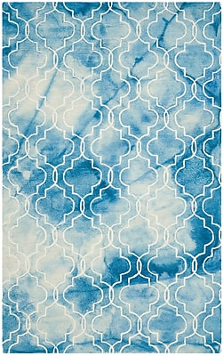 Bungalow Rose Fernando Hand-Tufted Dip Dye Blue / Ivory Area Rug; 6' x 9'
