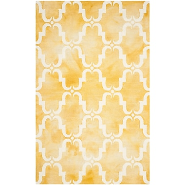 Bungalow Rose Hand-Tufted Gold/Ivory Area Rug; Round 7'