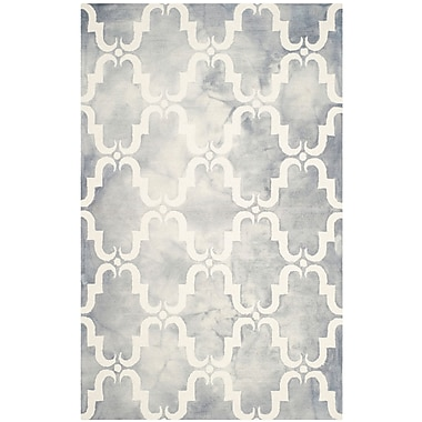 Bungalow Rose Hand-Tufted Dip Dye Gray/Ivory Area Rug; Round 7'