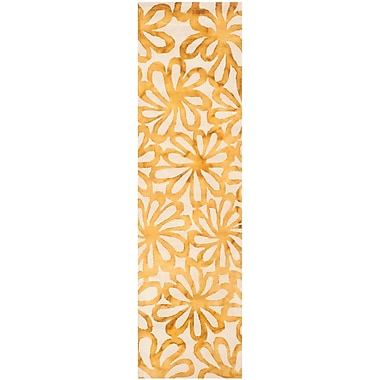 Bungalow Rose Hand-Tufted Beige & Gold Area Rug; Runner 2'3'' x 8'