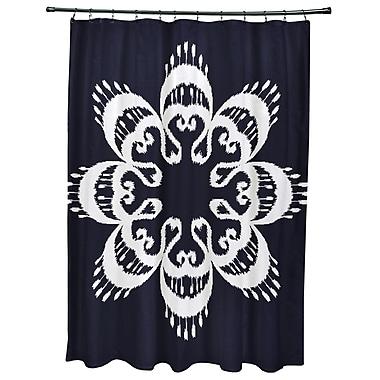 Bungalow Rose Oliver Ikat Mandala Geometric Print Shower Curtain; Navy Blue