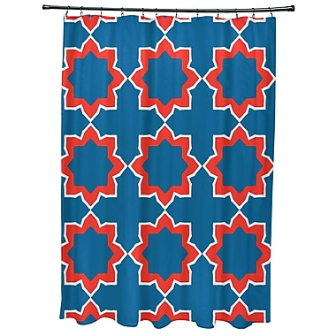 Bungalow Rose Oliver Bohemian 2 Geometric Print Shower Curtain; Blue