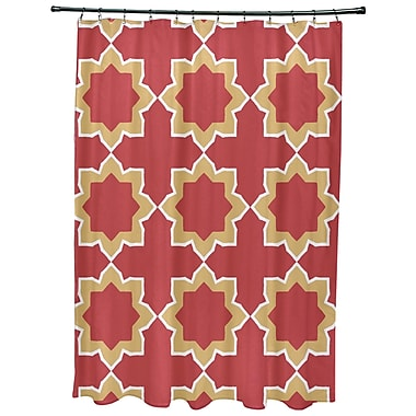Bungalow Rose Oliver Bohemian 2 Geometric Print Shower Curtain; Coral