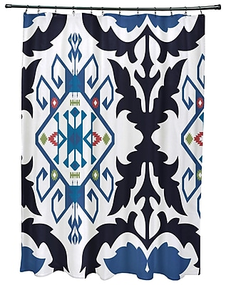 Bungalow Rose Oliver Bombay Medallion Geometric Print Shower Curtain; Navy Blue