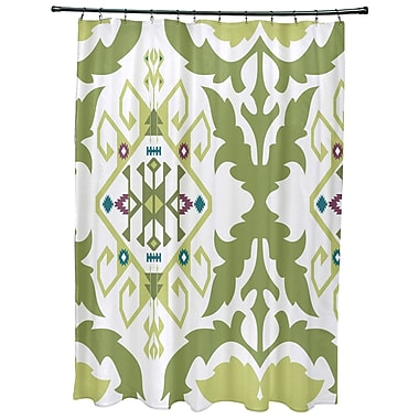 Bungalow Rose Oliver Bombay Medallion Geometric Print Shower Curtain; Green