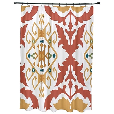 Bungalow Rose Oliver Bombay Medallion Geometric Print Shower Curtain; Coral