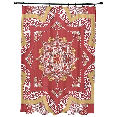 Bungalow Rose Oliver Shawl Geometric Print Shower Curtain; Coral