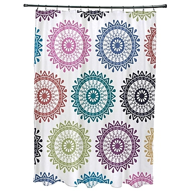 Bungalow Rose Oliver Groovy Geometric Print Shower Curtain; Dark Teal