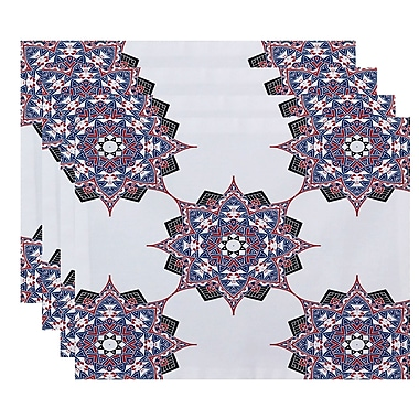 Bungalow Rose Oliver Rhapsody Geometric Print Placemat (Set of 4); Dark Blue