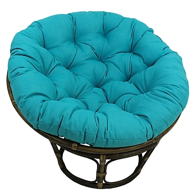 Bungalow Rose Benahid Outdoor Rattan Papasan Chair w/ Cushion; Aqua Blue