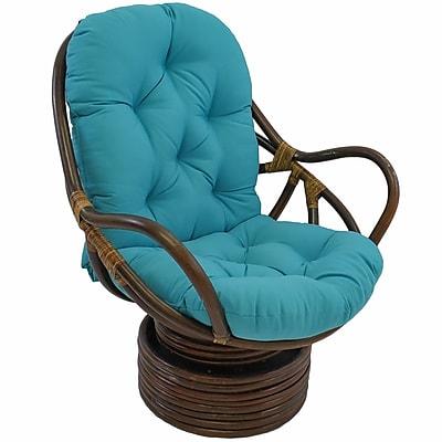 Bungalow Rose Benahid Outdoor Rattan Swivel Chair w/ Cushion; Mocha