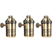 Newhouse Lighting E26/Standard Base Solid Brass Light Socket Vintage Edison Pendant Lamp Holder, 3-Pack, (BHLDR-BRASS-3)