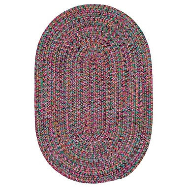 Bungalow Rose Huntington Hand-Woven Pink/Green Area Rug; Oval 5' x 8'