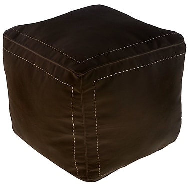 Bungalow Rose Mouassine Square Pouf Leather Ottoman; Chocolate
