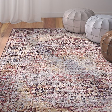 Bungalow Rose Koury Beige/Red Area Rug; Round 5' x 5'