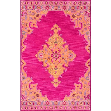 Bungalow Rose Isai Hand-Tufted Pink Area Rug; 5' x 8'