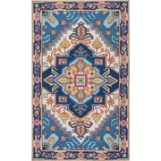 Bungalow Rose Bloomfield Hand Hooked Blue/Beige Area Rug; 7'6 inch x 9'6 inch  by