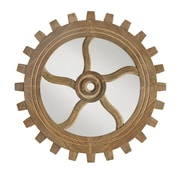 Bungalow Rose Round Wood Gear Mirror; Small