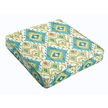 Bungalow Rose Outdoor Dining Chair Cushion; Blue Green