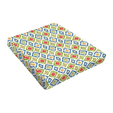 Bungalow Rose Outdoor Dining Chair Cushion; Red / Green / Blue
