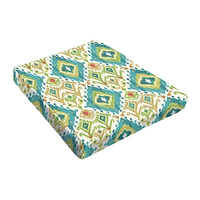 Bungalow Rose Outdoor Dining Chair Cushion (Set of 2); Blue / Green