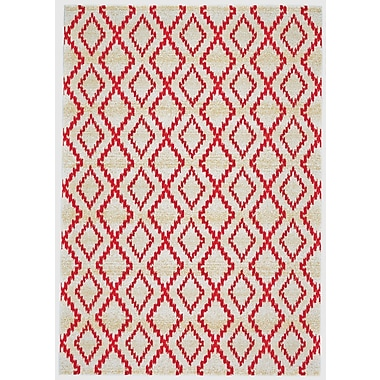 Bungalow Rose Yenene Apricot White & Red Area Rug; 2'2'' x 4'