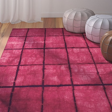 Bungalow Rose Steinsel Hand-Loomed Bright Pink/Burgundy Area Rug; 3'3'' x 5'3''