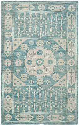 Bungalow Rose Hawke Blue Floral Plant Rug; 5' x 8'