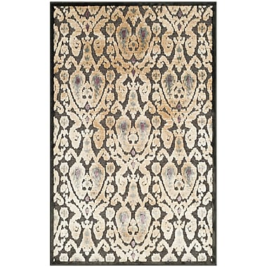 Bungalow Rose Saint-Michel Charcoal Floral Rug; 8' x 11'2''