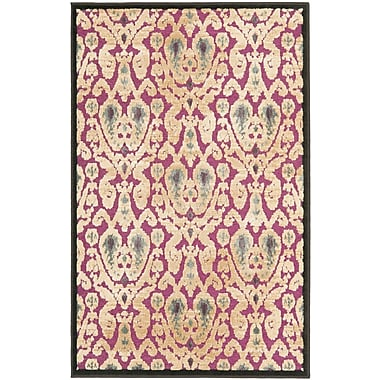 Bungalow Rose Saint-Michel Anthracite / Fuchsia Wilton Black/ Gray Area Rug; 2'7'' x 4'