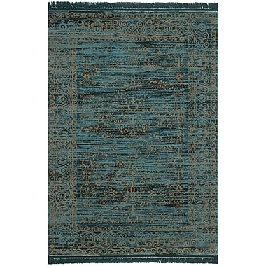 Bungalow Rose Zennia Turquoise & Gold Area Rug; 6' x 9'