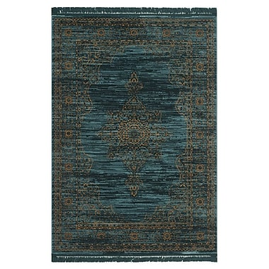 Bungalow Rose Zennia Turquoise/Gold Area Rug; 2'3'' x 3'9''