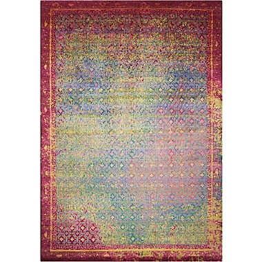 Bungalow Rose Nommern Hand-Knotted Blue/Yellow/Pink Area Rug; 7'9'' x 9'9''