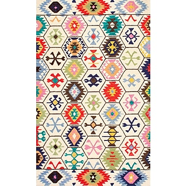 Bungalow Rose Toubqal Hand-Tufted Beige Area Rug; 6' x 9'