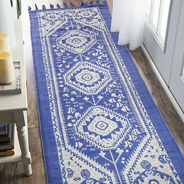 Bungalow Rose Quartier Hand-Woven Blue Area Rug; Runner 2'6'' x 8'