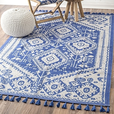 Bungalow Rose Quartier Hand-Woven Blue Area Rug; Runner 2'6'' x 12'
