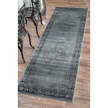 Bungalow Rose Pittwater Blue Area Rug; Runner 2'7'' x 8'