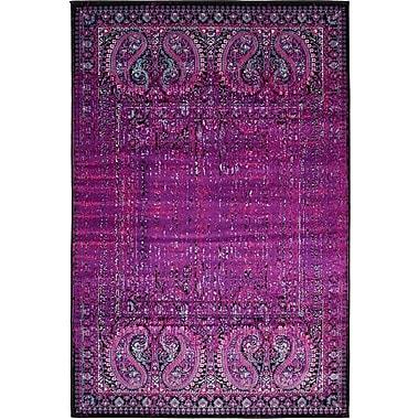 Bungalow Rose Yareli Lilac/Black Area Rug; 4' x 6'