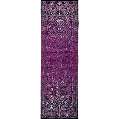 Bungalow Rose Yareli Lilac/Black Area Rug; Runner 3' x 9'10''