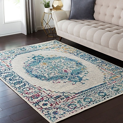 Bungalow Rose Puran Gray/Teal Area Rug; 1'10'' x 2'11'' WYF078281560450