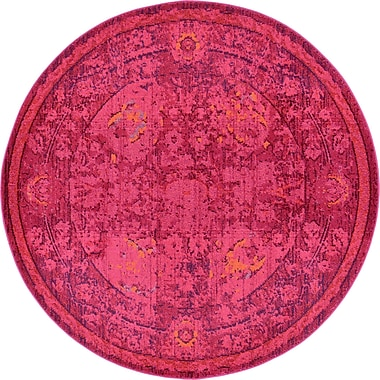 Bungalow Rose Iris Red Area Rug; Round 6'
