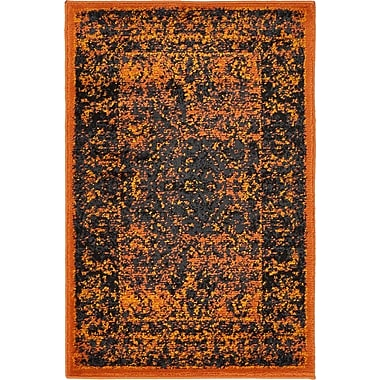 Bungalow Rose Yareli Terracotta/Black Area Rug; 2' x 3'